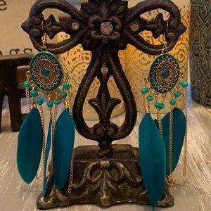 Goddess Warrior Teal gold feather dangle earrings